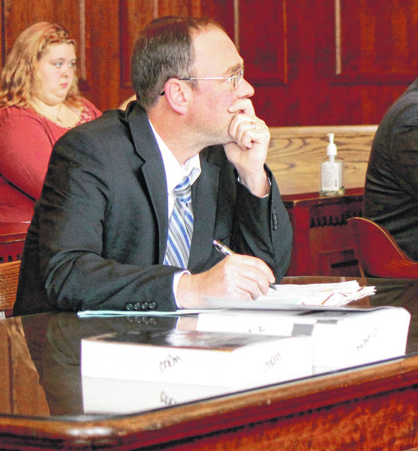 Anna Bolton | Greene County News Assistant Prosecutor Bill Morrison listens in a Greene County courtroom during the Nov. 21 arraignment of Zyrian Atha-Arnett.