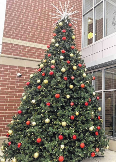 Photo courtesy City of Xenia Xenia's 18-foot Christmas tree is ready to be lit during Hometown Christmas Saturday. The high school football team will light it.