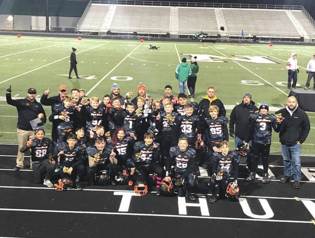 The Beavercreek sixth grade Eager Beaver Orange team played against the Huber Heights Red team during the Super Bowl game for the Gem City Youth Conference, Nov. 2, and took home the title with a winning score of 48-6.