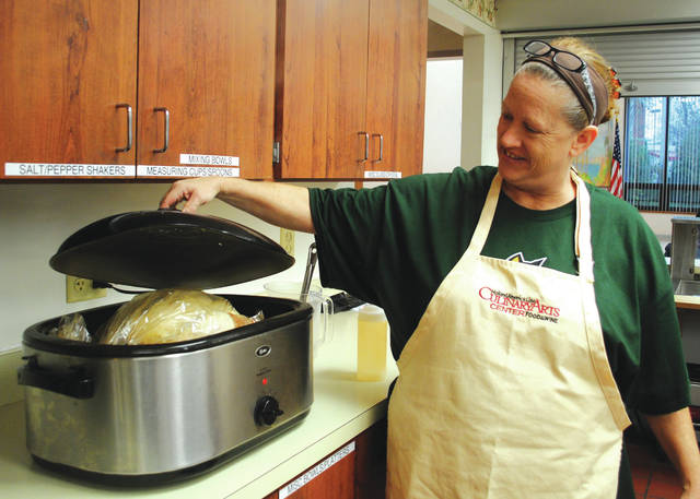 File photos Fairborn Senior Center officials have been preparing for the community Thanksgiving feast since early this week. They have cooked 35 25-pound turkeys.