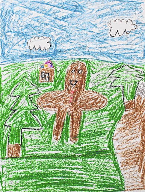 A gingerbread man drawn by Cox Elementary School third grader Avery.