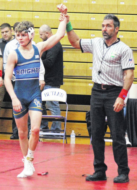 Photos courtesy Legacy Christian Academy Sophomore Matt Ellis was second at 113 pounds at the Greater Miami Valley Wrestling Association Holiday Tournament. He pinned his way to the semis.