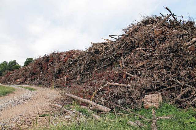 File photo Brush and tree debris from the Memorial Day tornadoes fill the Greene County Environmental Services lot.