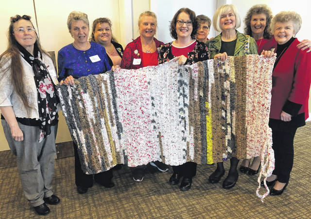 Photos courtesy DAR Cedar Cliff Chapter Daughters of the American Revolution Cedar Cliff Chapter members crochet a sleeping mat out of plarn, yarn made from recycled plastic bags.