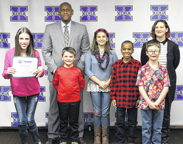 Photo courtesy Xenia Community School District The Xenia Community School District Board of Education honored its January kids of character at its regular meeting.Recognized were Clyde Wilson (Xenia Preschool); Jackson Singleton (Arrowood Elementary); Summer Chambers (Cox Elementary); Chandler Brown (McKinley Elementary); Arie Dancy (Shawnee Elementary); Kasaun Singleton (Tecumseh Elementary); Macie Allen (Warner Middle); and Nathan Saner (Xenia High School)