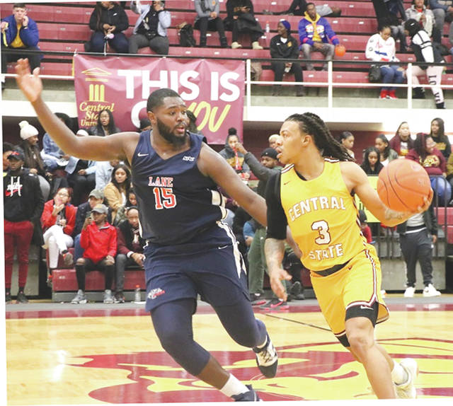 Central State's Harris Brown (3) scored a game-high 27 points in the Marauder men's win Jan. 20 over visiting Lane College.