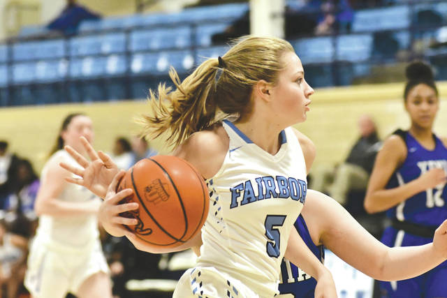 Sophomore guard Natalie Oktavec (5) drives with the ball, Jan. 8, in a Fairborn home game against Miami Valley League and Greene County foe Xenia.