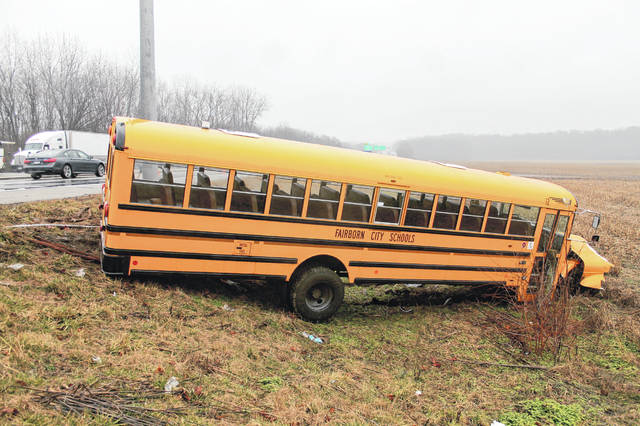 Photos by Anna Bolton | Greene County News A Fairborn City Schools bus ended up in the field off US-35 near Valley Road Tuesday morning after a crash.