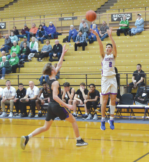 Greeneview junior guard Cole Allen (2) led the Rams with a game-high 15 points, in Thursday's Division III first-round loss to Dayton Christian in the Butler Student Activities Center, in Vandalia.