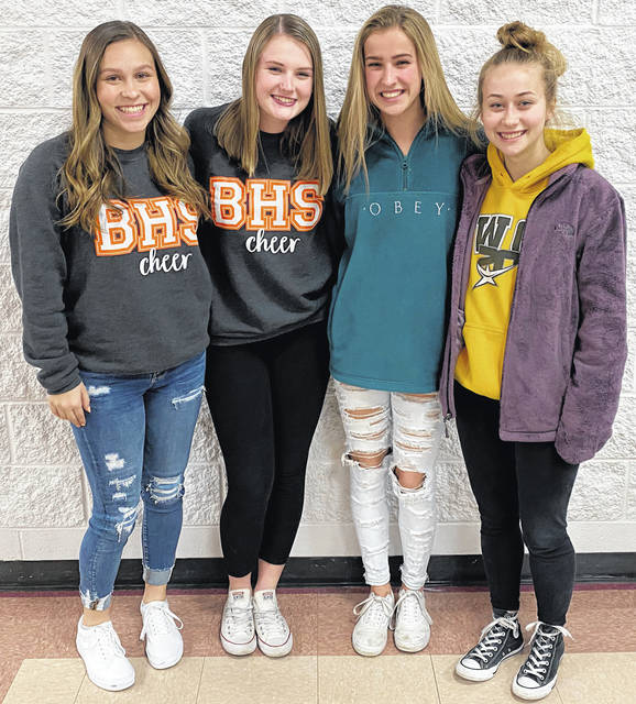 Scott Halasz | Greene County News Beavercreek High School seniors Emily Curry, Caitlyn Reichert, Kailyn Randolph, and Madelyne Colle have been the heart and soul of the competition cheerleading team for four years.