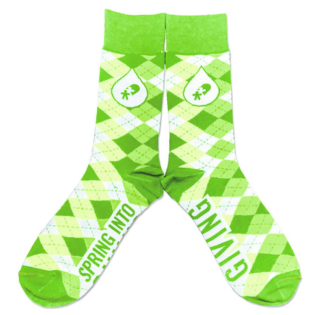 Everyone who registers to donate blood will get a pair of green argyle socks.