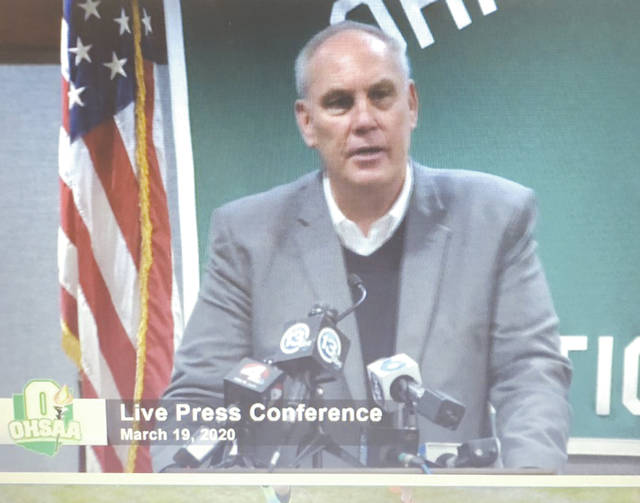 Online screenshot photo of OHSAA Executive Director Jerry Snodgrass speaking during Thursday's March 19 press conference in Columbus.