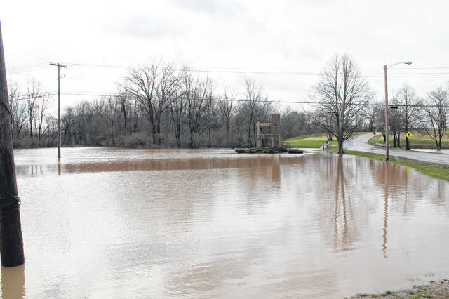 Anna Bolton | Greene County News Grassy areas near Wilberforce University were flooded with a few feet of water.