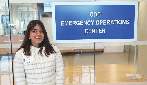 Boonshoft School of Medicine students Rinki Goswami, above and Vishal Dasari are helping to track the spread of the coronavirus at the Emergency Operations Center at the Centers for Disease Control and Prevention.