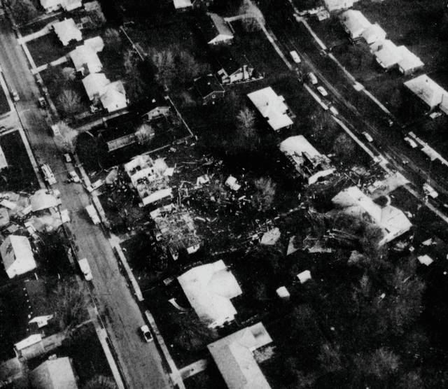 An aerial view of damage caused by the 1989 tornado.