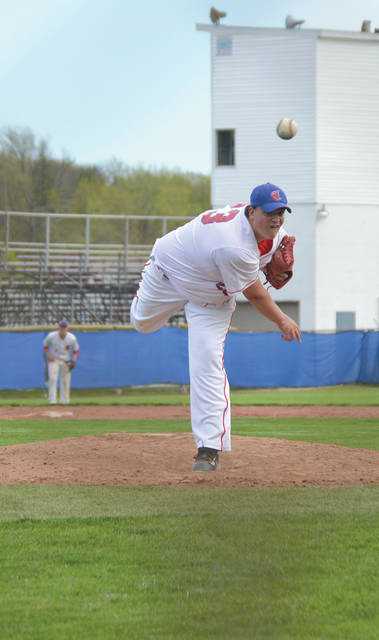 Carroll senior righty Mitch Applegate threw a one-hitter in Tuesday's simulated high school baseball win over visiting Greeneview, in simulated Riverside.