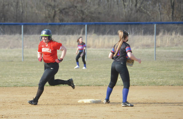 Cedarville's Grace Jacob doubled and scored a run in Tuesday's simulated softball loss to Xenia.