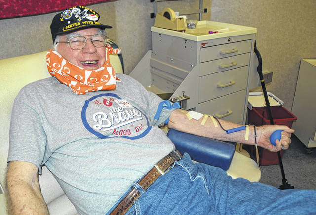 Photo courtesy Community Blood Center Despite recommendations to stay at home, 90-year-old John Teevan made his 200th donation this week.