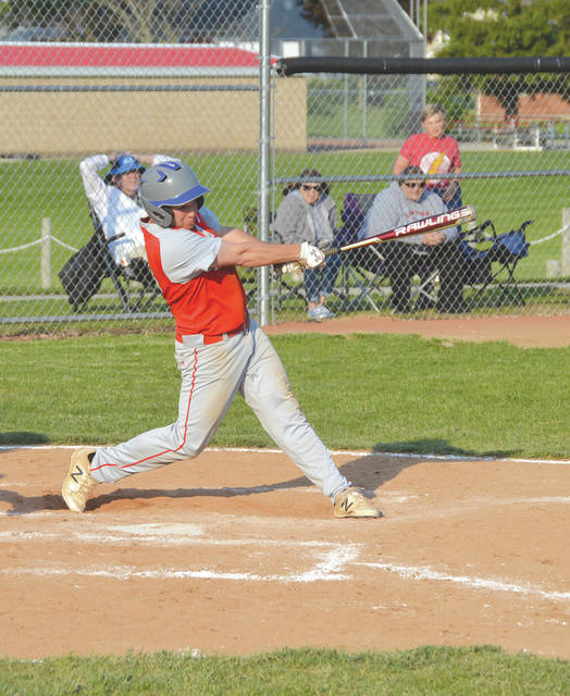 C.J. Pahl drives in a run for the Cedarville Indians during high school baseball play last season.