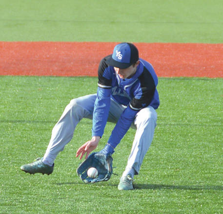 A Yellow Springs infielder hauls in a ground ball last season. The Bulldogs lost a simulated game to Xenia on Wednesday.