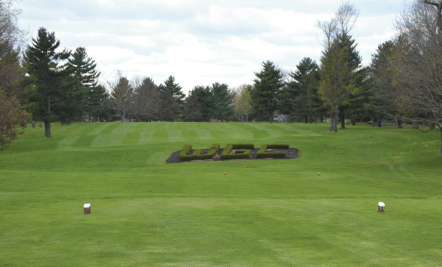 WGC Golf Course's hole no. 16 sits ready for the day's golfers on the first day of the course's reopening in compliance with COVID-19 health measures, April 10 in Xenia.