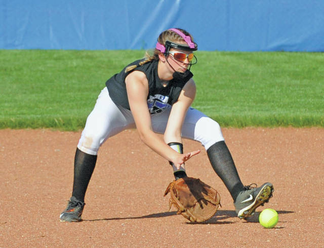Xenia's Jada MacAvene scoops up an infield grounder in this photo from last season.