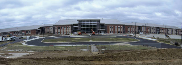Submitted photo Construction of the new Greene County Career Center continues on Innovation Drive, just off U.S. Route 35 near U.S. Route 68, south of Xenia. Despite the pandemic, the speedy project is still on schedule with an anticipated July 19 occupancy date. The 264,000-square-foot school building itself will be ready for students in the fall, whether or not in-person classes will resume.