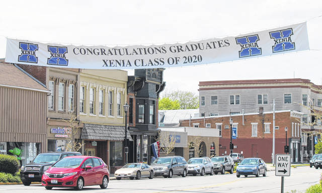 Anna Bolton | Greene County News A parade honoring Xenia's 2020 graduates will pass under this banner, erected by the city.