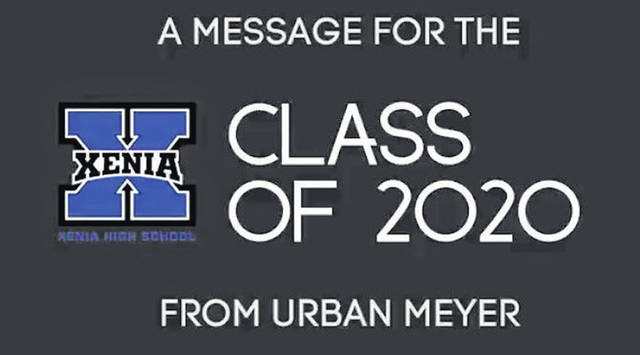Video screenshot courtesy Xenia Community Schools Former Ohio State football coach Urban Meyer gives the Xenia High School class of 2020 a shoutout during a video message.