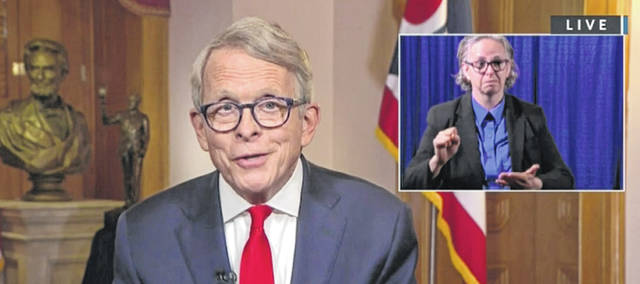Screenshot of live video  DeWine addresses the State of Ohio during a livestreamed press conference Wednesday.