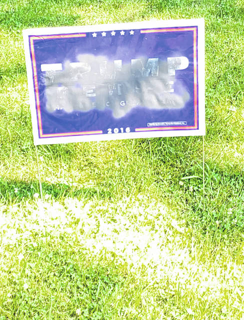 Scott Halasz | Greene County News This Trump/Pence sign was vandalized last week. The property owner wants people to know it's a crime to do so.