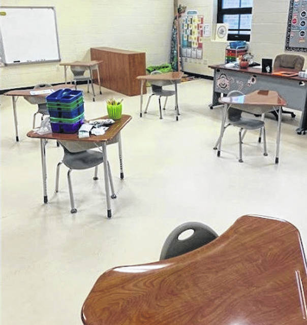 File photo Cedar Cliff schools began Wednesday, with about 90 percent of enrolled students choosing in-person learning. Classrooms were set up for social distancing.