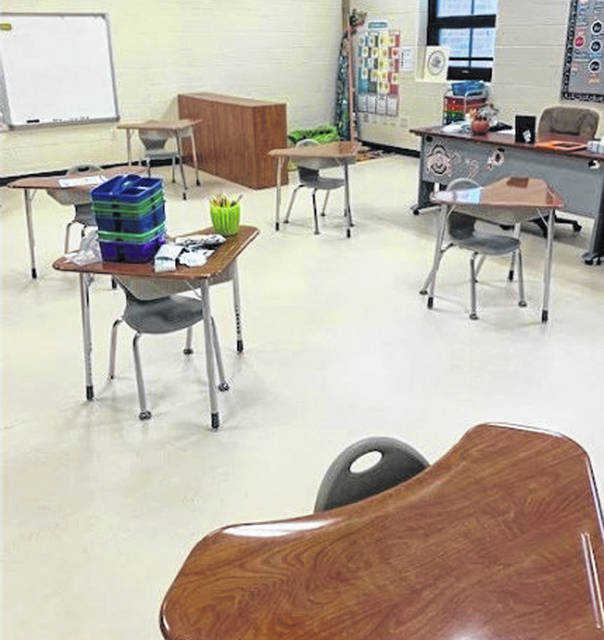 Photos courtesy Cedar Cliff Local Schools Classrooms inside Cedarville Elementary School are set up to maintain social distancing.