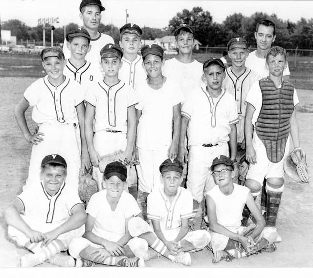 Submitted photo The 1965 Xenia Little Y baseball team won the senior division tournament (ages 11-12) 55 years ago. Front row (left to right) Clyde Doyle, Tim Paxon, Greg Marshall, and Jim Beaver. Second row (left to row) Tim Owens, Don Cooper, Bob Hart, Clay Phillips, and Gary Gibbons. Third row (left to right) Mike Marshall, Greg Shoemaker, Dennis North, and Steve Quigley. Back row Manager Marshall, Coach Owens.
