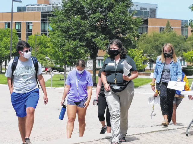 London Bishop | Greene County News Volunteers and staff conduct socially-distant campus tours for new students.