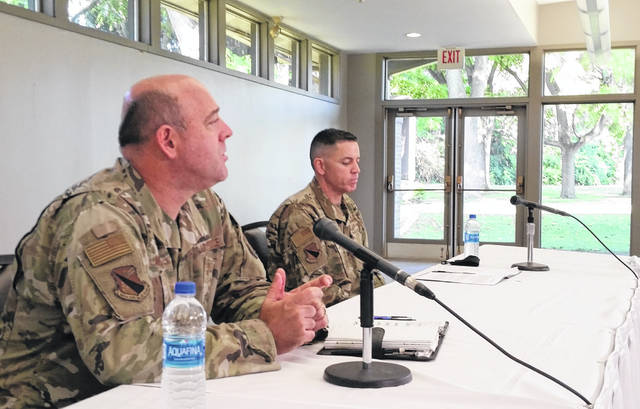 Colonel Patrick Miller and Chief Master Sergeant Jason Shaffer address the media during a roundtable Thursday.
