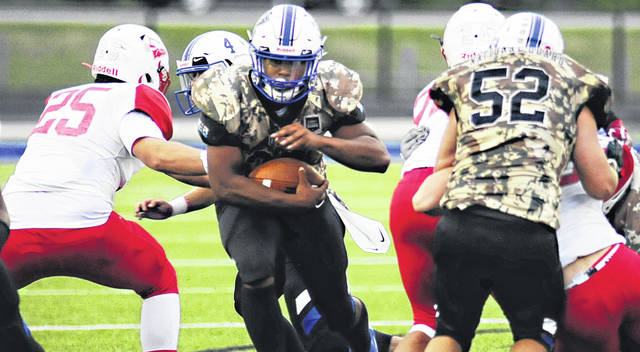 Charles Caperton | Greene County News Xenia running back Ramon Browder, shown against Stebbins last week, is third in the Miami Valley League with 285 yards rushing.