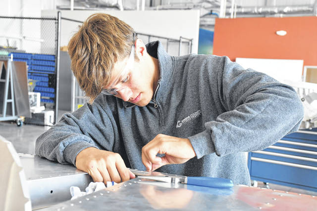 Photo courtesy GCCC Greene County Career Center junior Max Pollander, from Cedarville, trains in the aviation maintenance program.