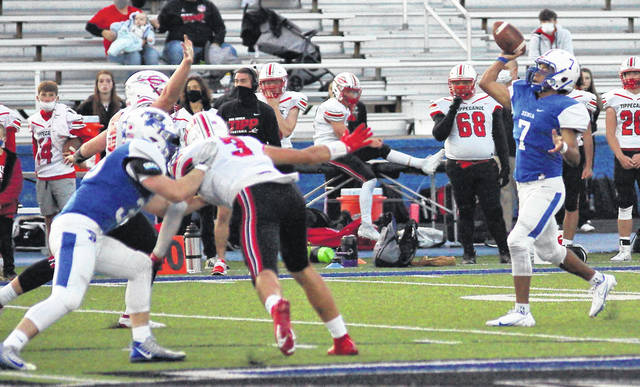 Barb Slone | Greene County News Xenia QB Tremell Wright drops back to pass against Tippecanoe Friday. He ran for a school-record 96-yard TD in the first half.