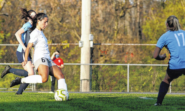 Photos by Barb Slone | Greene County News Xenia's Alayna Vela is about to score the game's first goal in a 6-0 Division-I sectional tournament game at Fairborn.
