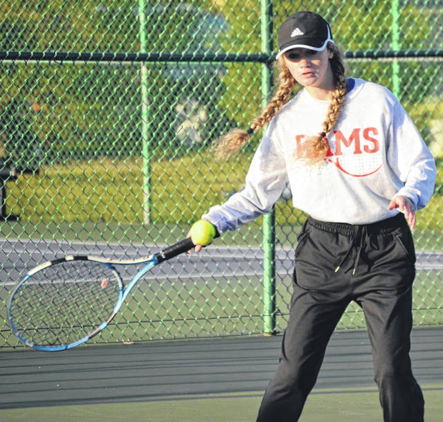 Greeneview senior Karli Vipperman sends a shot toward Preble Shawnee's Maya Davidson during a first-round match. She won, 6-2, 6-0 and then lost to top-seeded Macy Hitchcock of Eaton, 0-6, 0-6.