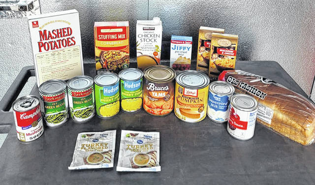 These are the items each family will receive in a box — plus a turkey — during the Xenia Area Fish Food Pantry's annual Thanksgiving giveaway on Saturday, Nov. 21.