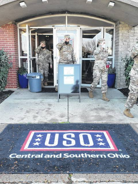 Airmen exit the newly renovated USO at Wright-Patterson Air Force Base. The USO celebrated its reopening on Oct. 23.