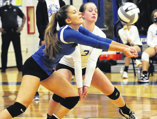 File photo Xenia libero Sydney Shuttleworth, shown against Sidney earlier this season, had 14 digs to help Xenia beat Wayne in a sectional tournament match Tuesday.