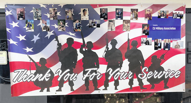 Submitted photo The Cedarville University Military Association is displaying a banner outside the Student Government Association (SGA) office in the Stevens Student Center (SSC) this week in honor of Veterans Day.