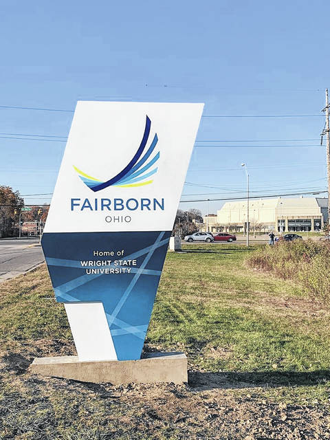 Wayfinding signs on SR 235 and Colonel Glenn Highway denote Fairborn as the home of Wright-Patterson Air Force Base and Wright State University, respectively.