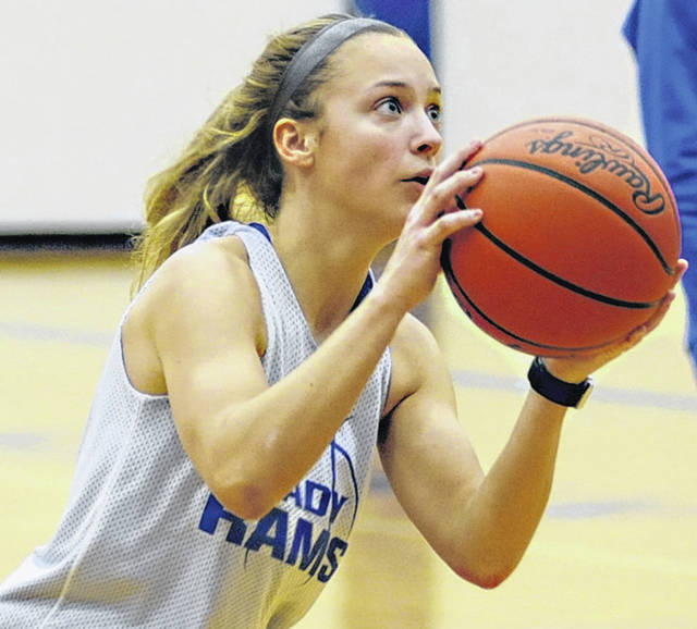 Greeneview High School junior Ellie Snyder gets ready to take a shot during practice.