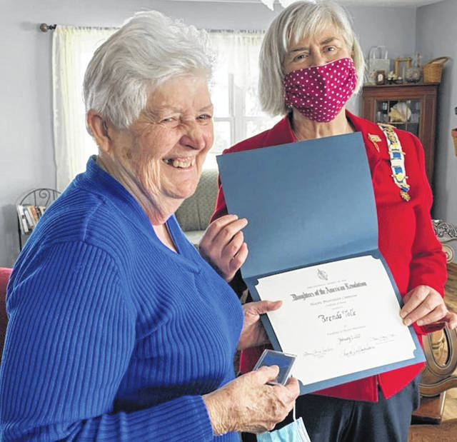 "Submitted photo <p class=""x_MsoNormal"">Cedar Cliff Chapter DAR Regent, Linda Sears, right, honors member Brenda Tolle, left, with the Excellence in Historic Preservation Award Feb. 13."