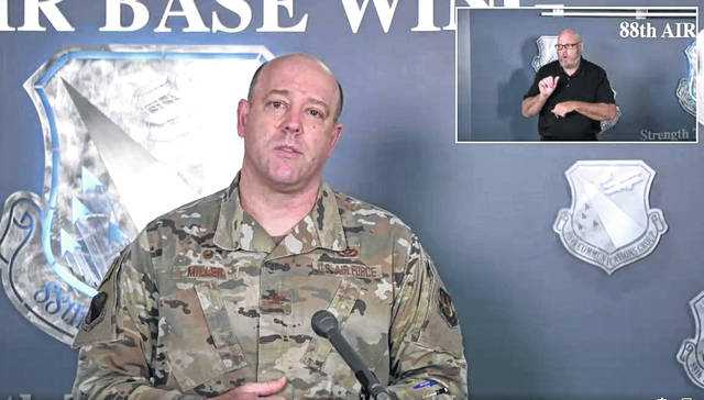 Col. Patrick Miller authorized a slight loosening of restrictions Wednesday during a Wright-Patterson coronavirus town hall.