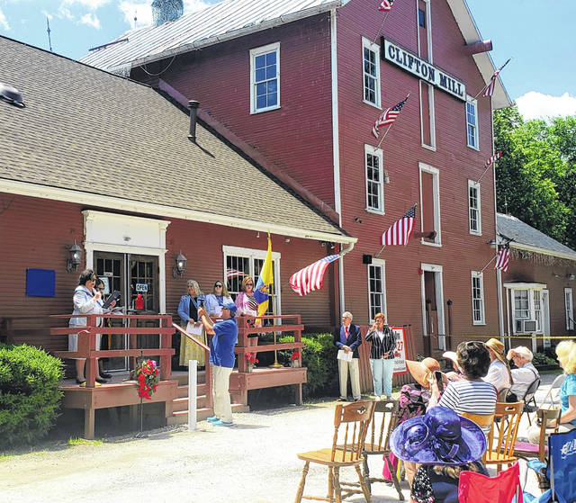 Photos by London Bishop   Greene County News The National Society of Colonial Dames XVII Century placed a marker at the historical Clifton Mill on Monday, recognizing it as a historical landmark.
